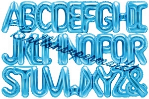 Buchstaben Luftballons aus Folie, 35 cm, Blau