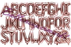 Buchstaben Luftballons aus Folie, 35 cm, Rosegold
