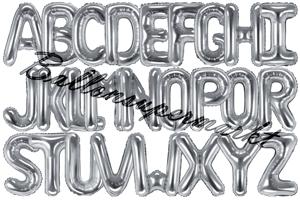 Buchstaben Luftballons aus Folie, 35 cm, Silber