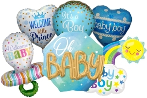 Folienballons zu Geburt und Taufe, Junge, Boy, heliumgefüllt