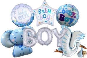 Folienballons zu Geburt und Taufe, Junge, Boy, ungefüllt