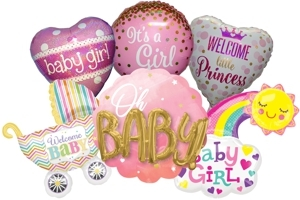 Folienballons zu Geburt und Taufe, Mädchen, Girl, heliumgefüllt