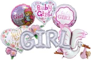 Folienballons zu Geburt und Taufe, Mädchen, Girl, ungefüllt