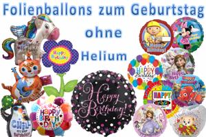 Folienballons zum Geburtstag ohne Helium