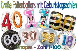 Große Geburtstag Folienballons mit Zahlen, Shapes (ohne Helium)