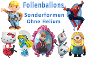 Folienballons Shapes, Sonderformen, ohne Helium