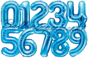 Zahlen Luftballons aus Folie, 35 cm, Blau