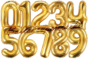 Zahlen Luftballons aus Folie, 35 cm, Gold