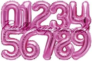 Zahlen Luftballons aus Folie, 35 cm, Pink
