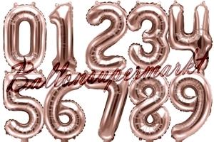 Zahlen Luftballons aus Folie, 35 cm, Rosegold