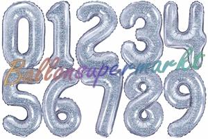 Zahlen Luftballons aus Folie, 35 cm, Silber, holografisch