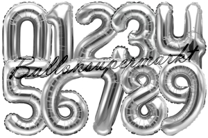 Luftballons aus Folie Zahlen, 43 cm, Silber