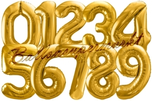Zahlen-Folien-Luftballons, Gold, 86 cm
