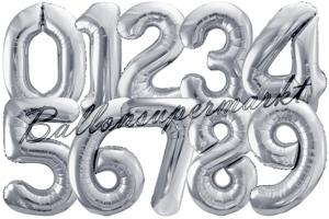 Folienballons Zahlen Silber, 86 cm