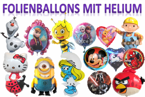 Folienballons mit Helium in Kartonagen