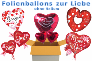 "Folienballons ""I Love You"" ohne Helium"