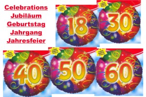 Folienballons Celebrations (ohne Helium)