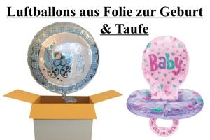 Luftballons aus Folien, Thema Geburt und Taufe, inklusive Helium-Ballongas