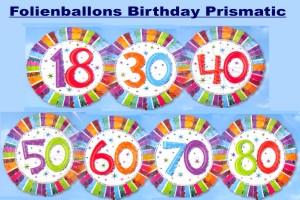 Folienballons Geburtstag, Birthday Prismatic (ohne Helium)