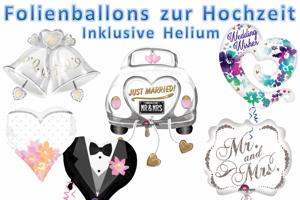 Luftballons aus Folien, Thema Hochzeit, inklusive Helium-Ballongas