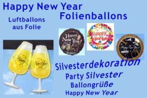 Luftballons aus Folien, Silvester und Neujahr, inklusive Helium-Ballongas