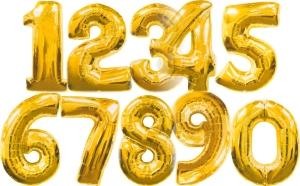 Große Zahlen-Luftballons Gold