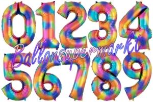 Luftballons aus Folie große Zahlen, 83-91 cm, Regenbogenfarben