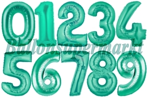 Luftballons große Zahlen, 100 cm, Aquamarin