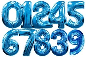 Luftballons aus Folie große Zahlen, 100 cm, Blau, inklusive Helium