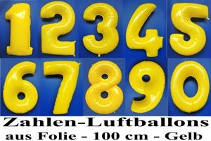 Luftballons aus Folie große Zahlen, 100 cm, Gelb