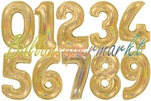 Luftballons große Zahlen, 100 cm, holografisch, Gold