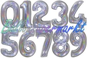 Luftballons aus Folie große Zahlen, 100 cm, Silber, holografisch
