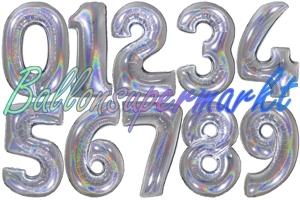 Luftballons große Zahlen, 100 cm, holografisch, Silber