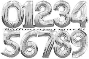 Luftballons aus Folie große Zahlen, 100 cm, Silber, inklusive Helium