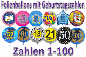 Folienballons mit Geburtstagszahlen 1-100 inkl. Helium