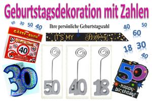 """Geburtstag Dekoration """"Zahlen"""""""