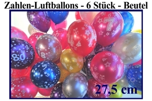 Luftballons, Motiv-Bedruckt, Zahlenballons, 6er Tüten