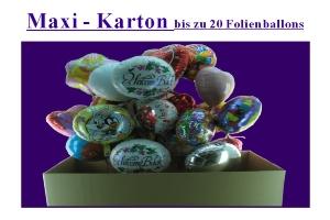 Folienballons im großen Karton