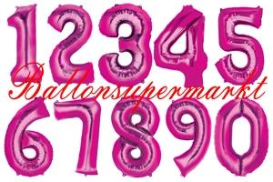 Große Zahlen-Luftballons Pink