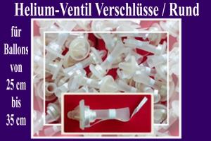 Helium-Ventile, Ballonverschlüsse mit Ballonband, Rund, für Latex-Luftballons von 25 cm bis 35 cm