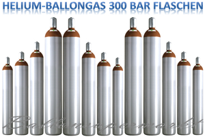 Heliumgas, Ballongas in Leichtstahlflaschen
