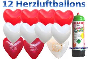 Herzluftballons Hochzeit mit dem kleinen Helium-Einwegbehälter