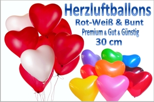 Herzluftballons Standardgröße, 3 Qualitäten