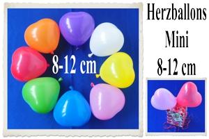 Herzluftballons 8-12 cm
