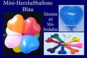 Herzluftballons-Mini-Blau