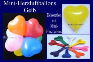 Herzluftballons-Mini-Gelb