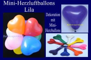 Herzluftballons-Mini-Lila