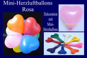 Herzluftballons-Mini-Rosa