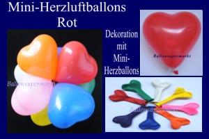 Herzluftballons-Mini-Rot