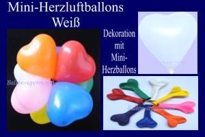 Herzluftballons-Mini-Weiß